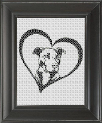 Pit Bull Love BW - Cross Stitch Pattern Chart
