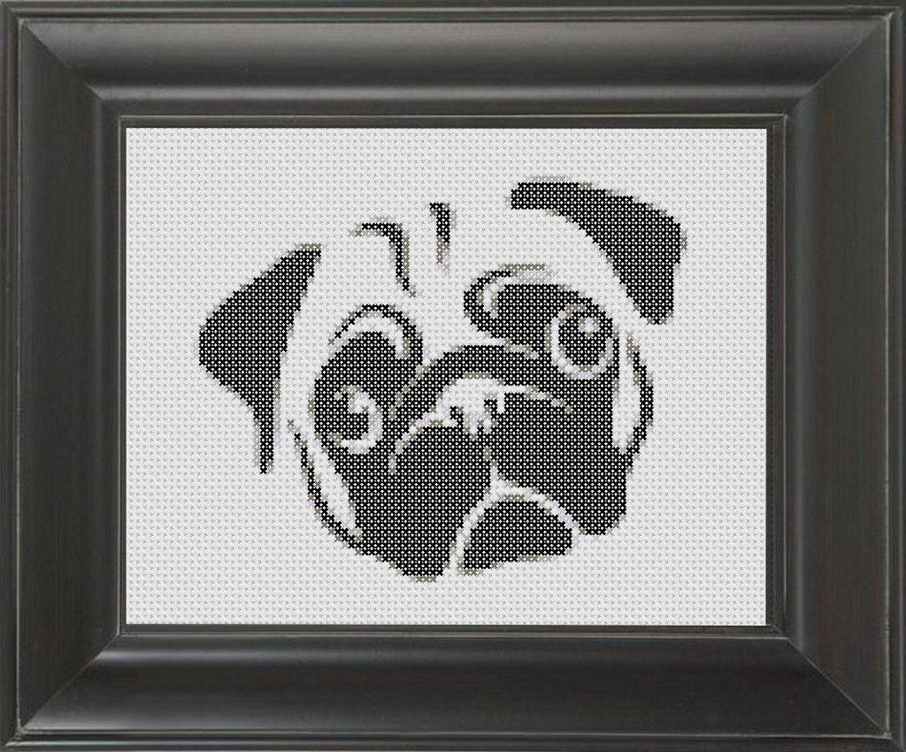 Pug BW 01 - Cross Stitch Pattern Chart