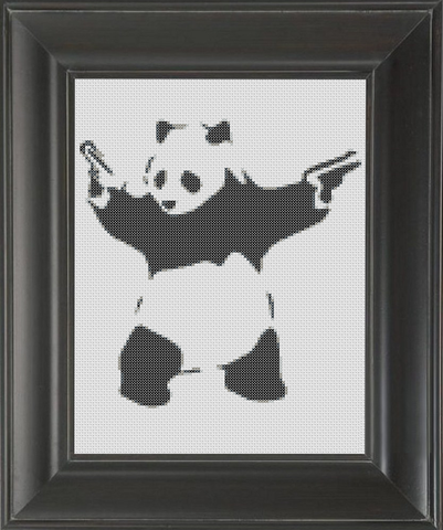 Panda With Guns BW - Cross Stitch Pattern Chart