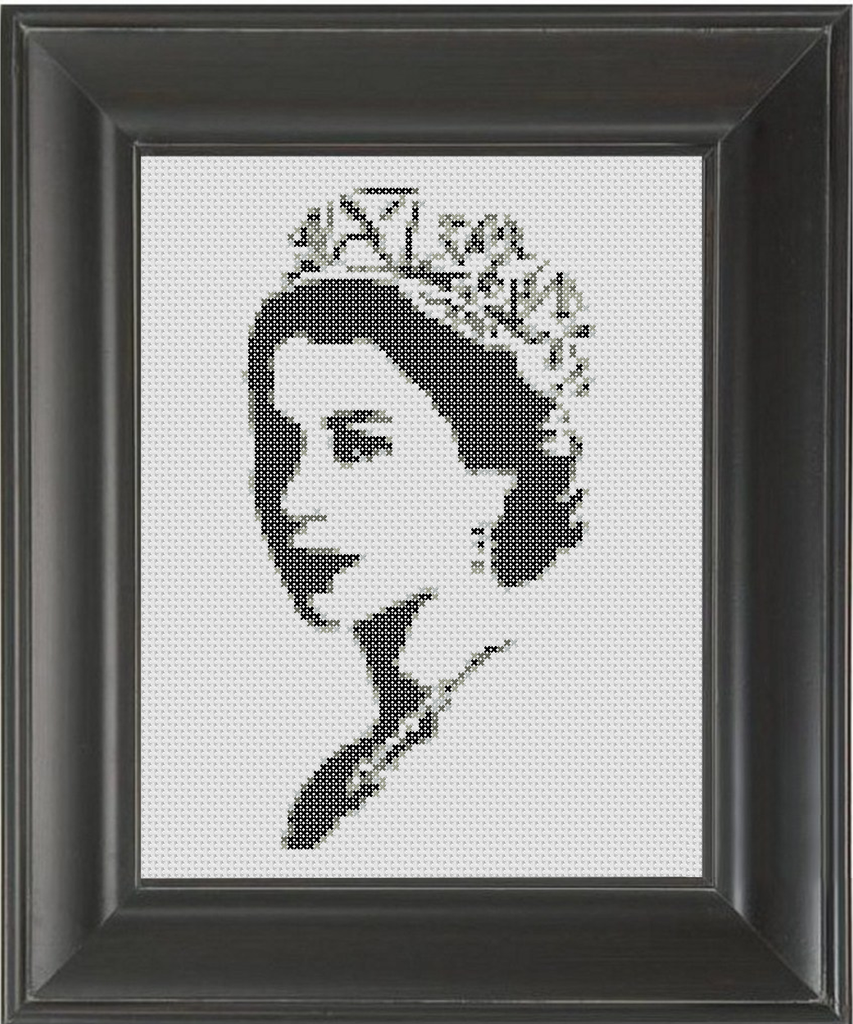 Queen Elizabeth BW - Cross Stitch Pattern Chart