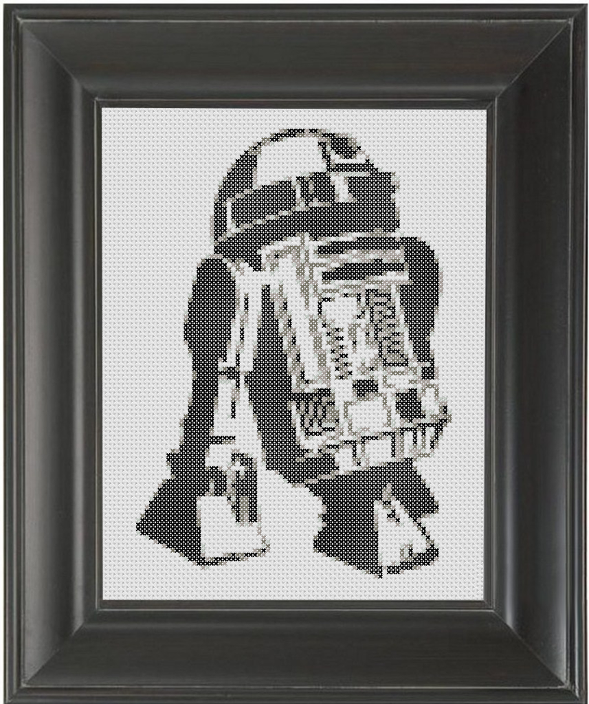R2D2 BW - Cross Stitch Pattern Chart