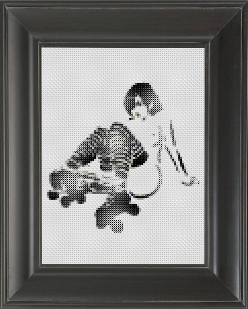 Roller Girl BW - Cross Stitch Pattern Chart