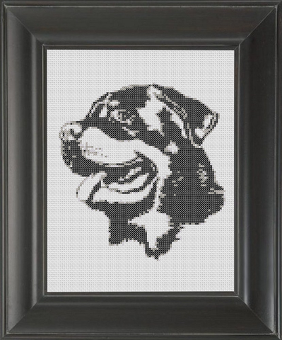 Rottweiler BW - Cross Stitch Pattern Chart