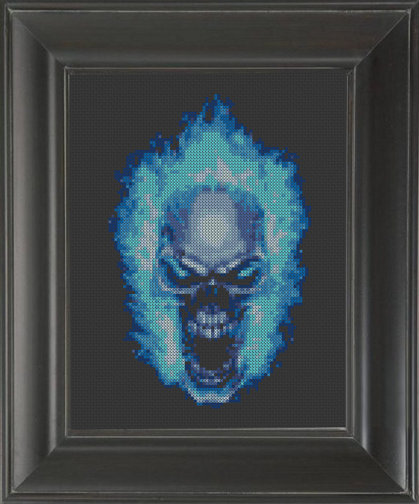 Skull Blue Flames - Cross Stitch Pattern Chart
