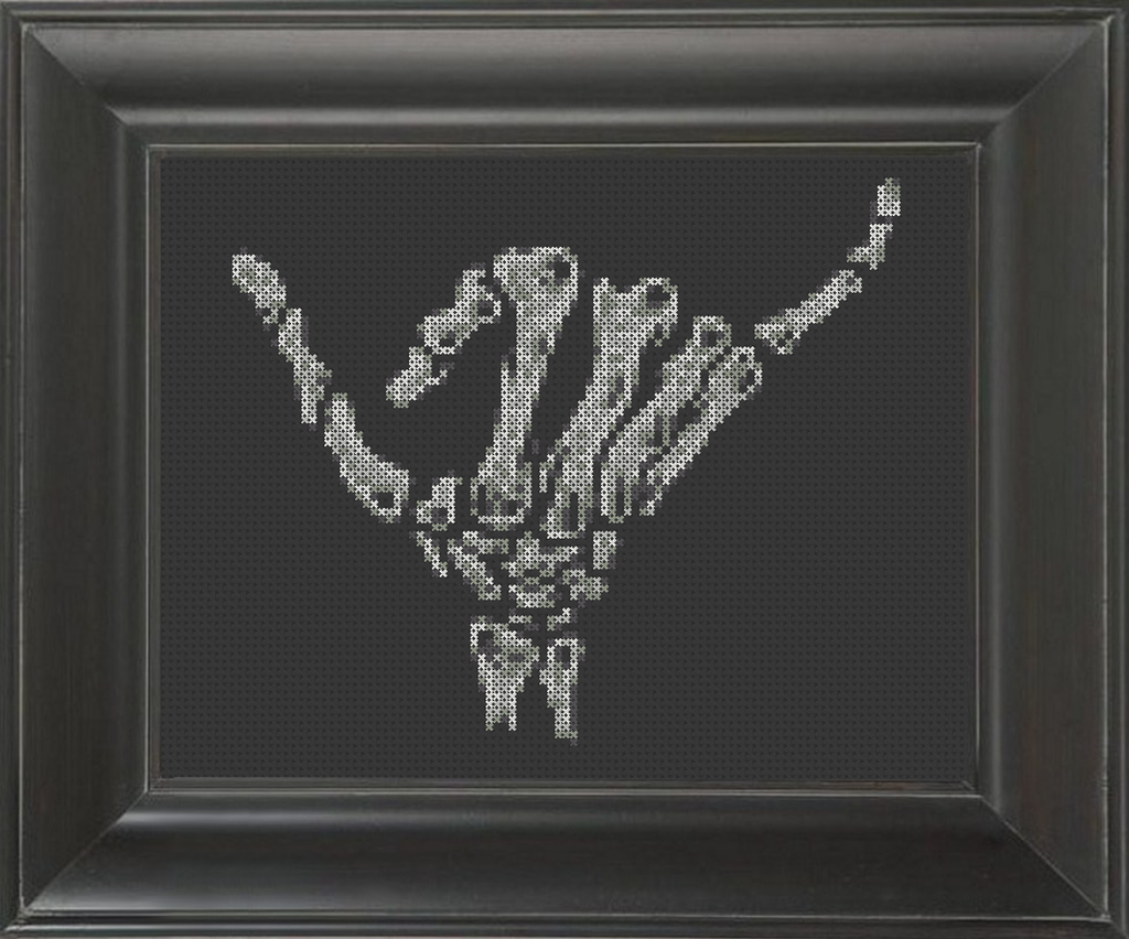 Skeleton Shaka Brah/Hang Loose - Cross Stitch Pattern Chart