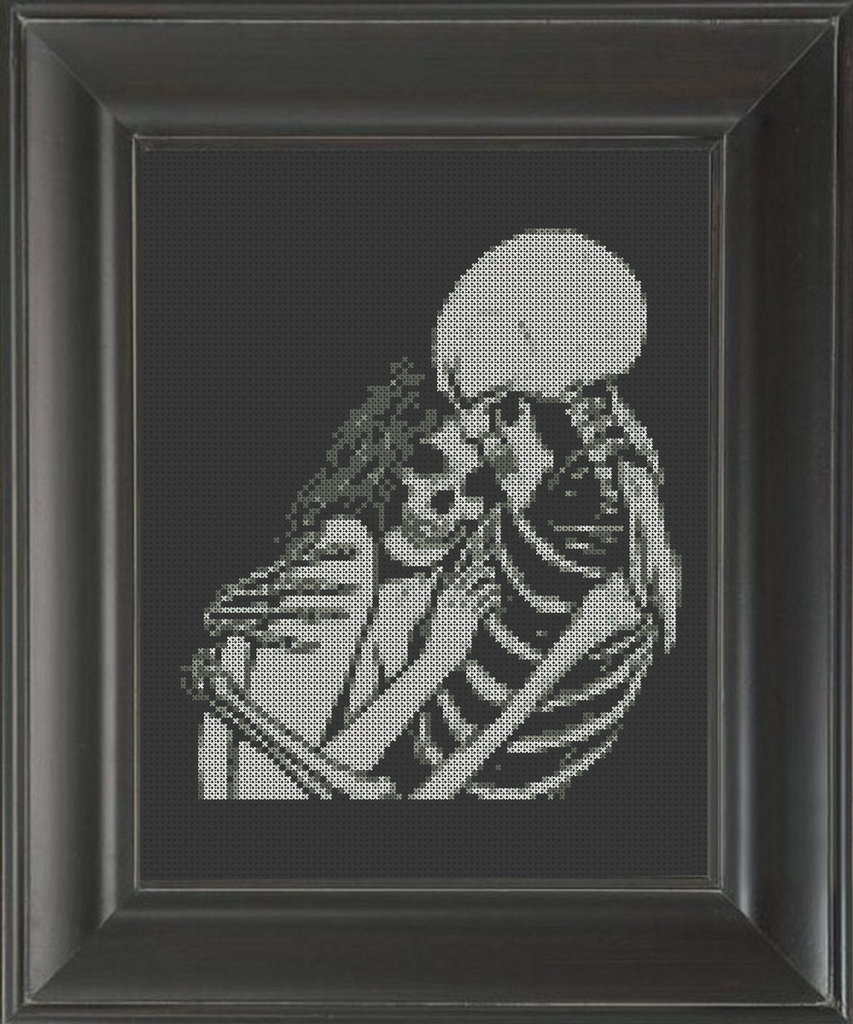 Skeleton Consoling Hug - Cross Stitch Pattern Chart