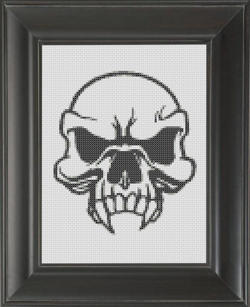 Skull Fangs BW - Cross Stitch Pattern Chart