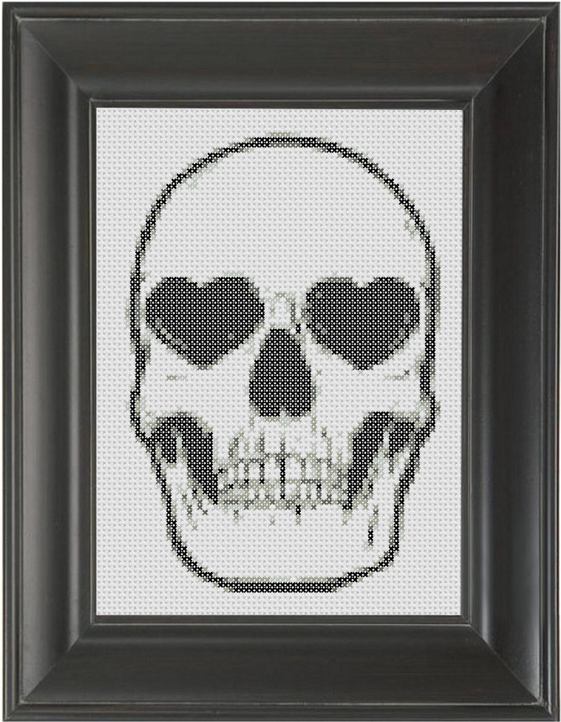 Skull with Heart Eyes - Cross Stitch Pattern Chart
