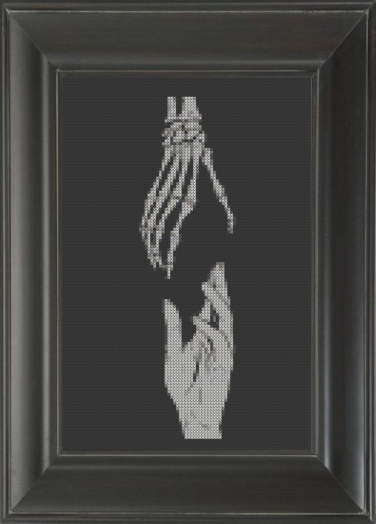 Skeleton Hands Life Meets Death - Cross Stitch Pattern Chart