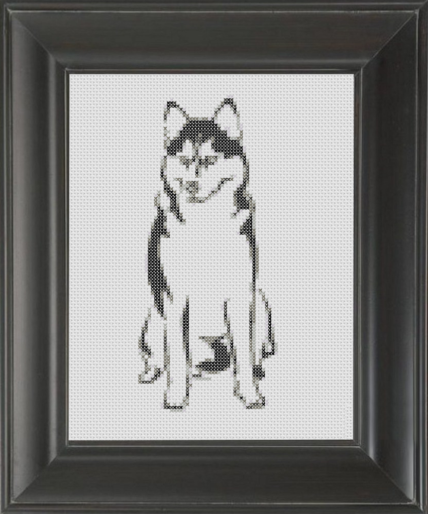 Siberian Husky BW - Cross Stitch Pattern Chart