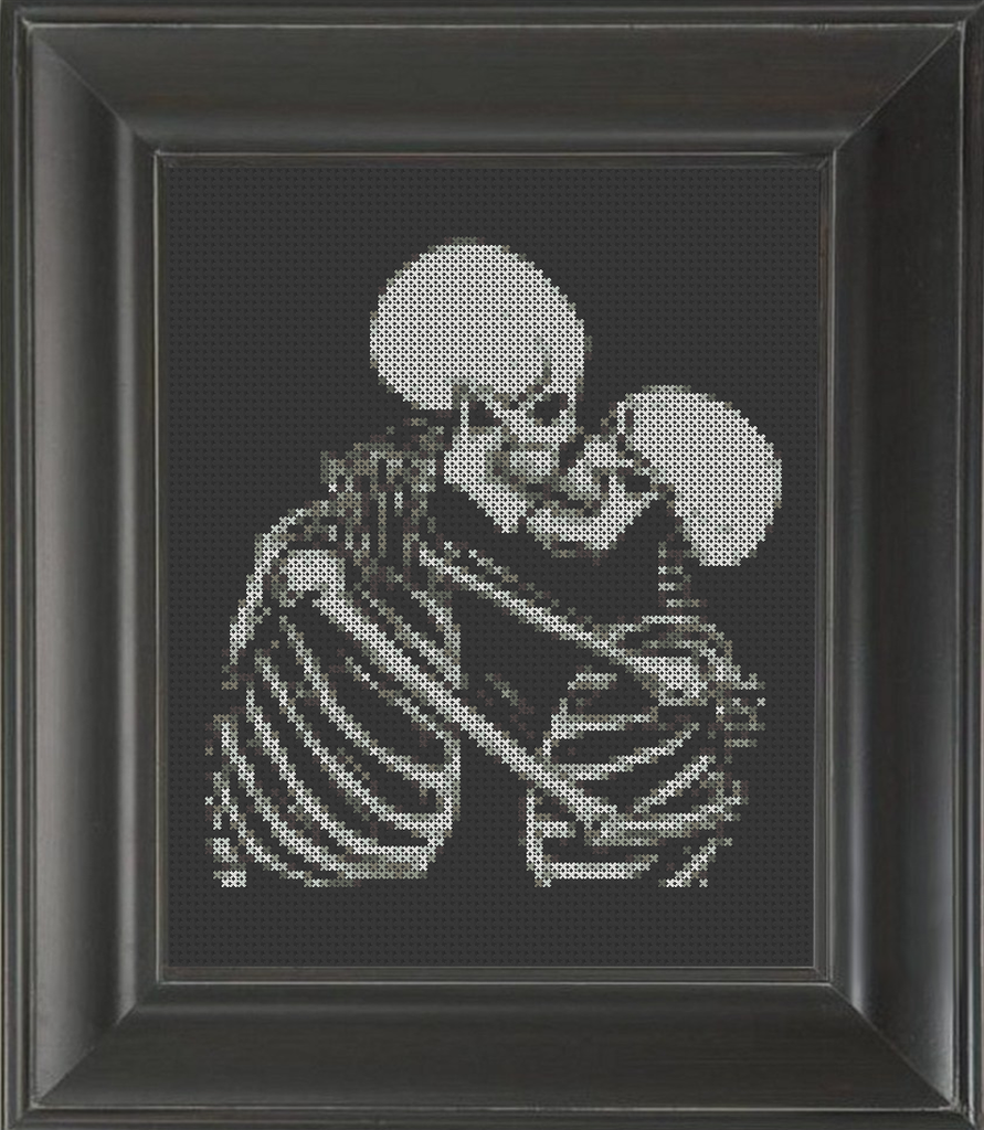 Skeleton Kiss - Cross Stitch Pattern Chart