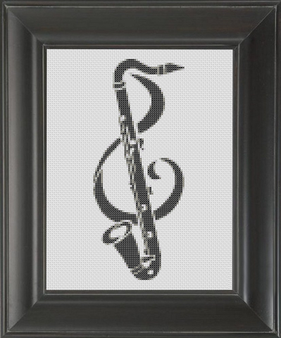 Saxophone Treble Clef BW - Cross Stitch Pattern Chart