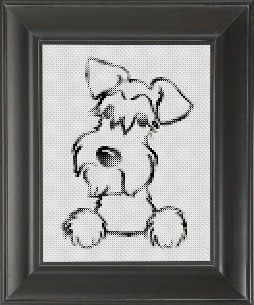 Schnauzer BW - Cross Stitch Pattern Chart