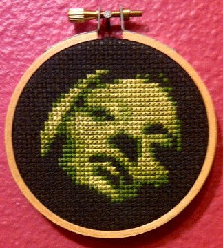 Green Face Threezle - Cross Stitch Pattern Chart