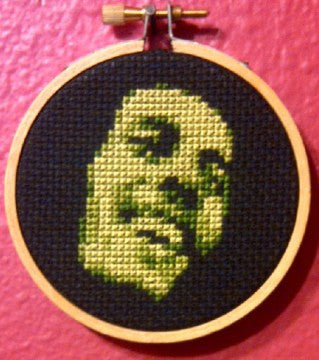 Bob Marley in Green Threezle - Cross Stitch Pattern Chart