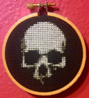 Skull On Black Threezle - Cross Stitch FINISHED PIECE