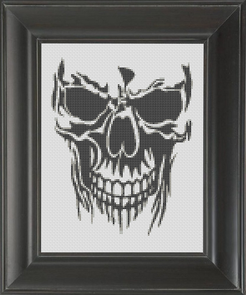Skull Evil BW - Cross Stitch Pattern Chart