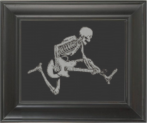 Skeleton Guitar - Cross Stitch Pattern Chart