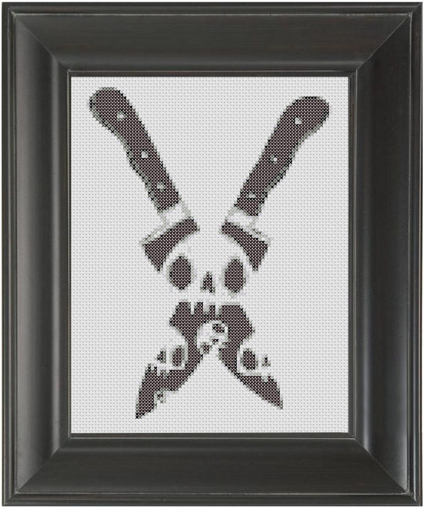 Skull Knives BW - Cross Stitch Pattern Chart