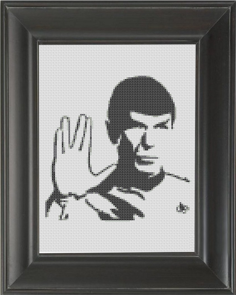 Spock BW - Cross Stitch Pattern Chart
