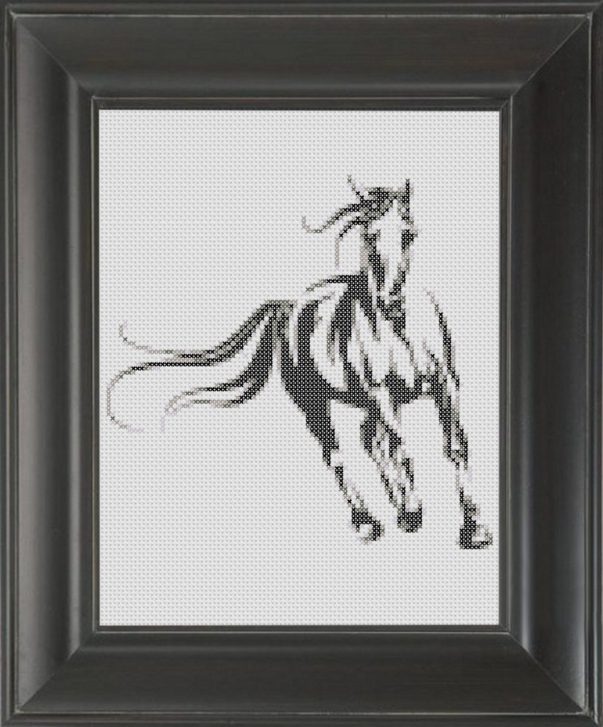 Stallion BW - Cross Stitch Pattern Chart