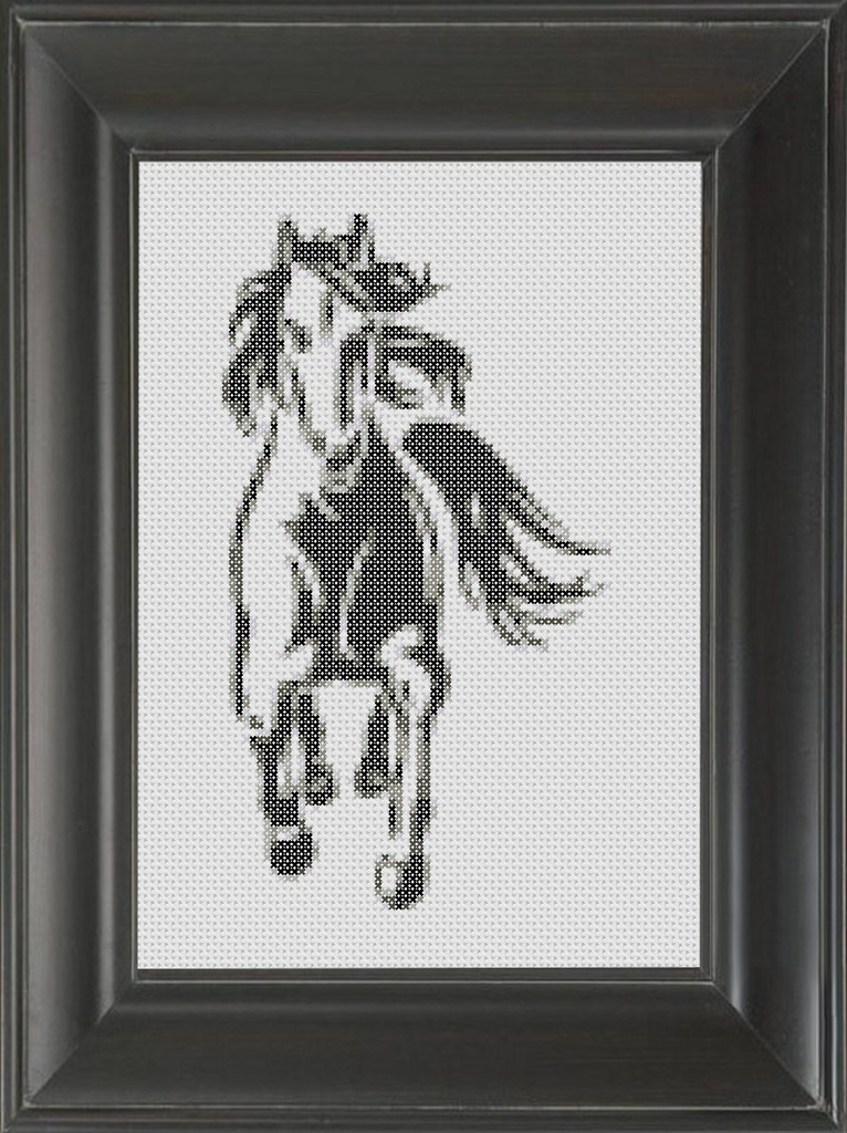 Stallion BW 02 - Cross Stitch Pattern Chart
