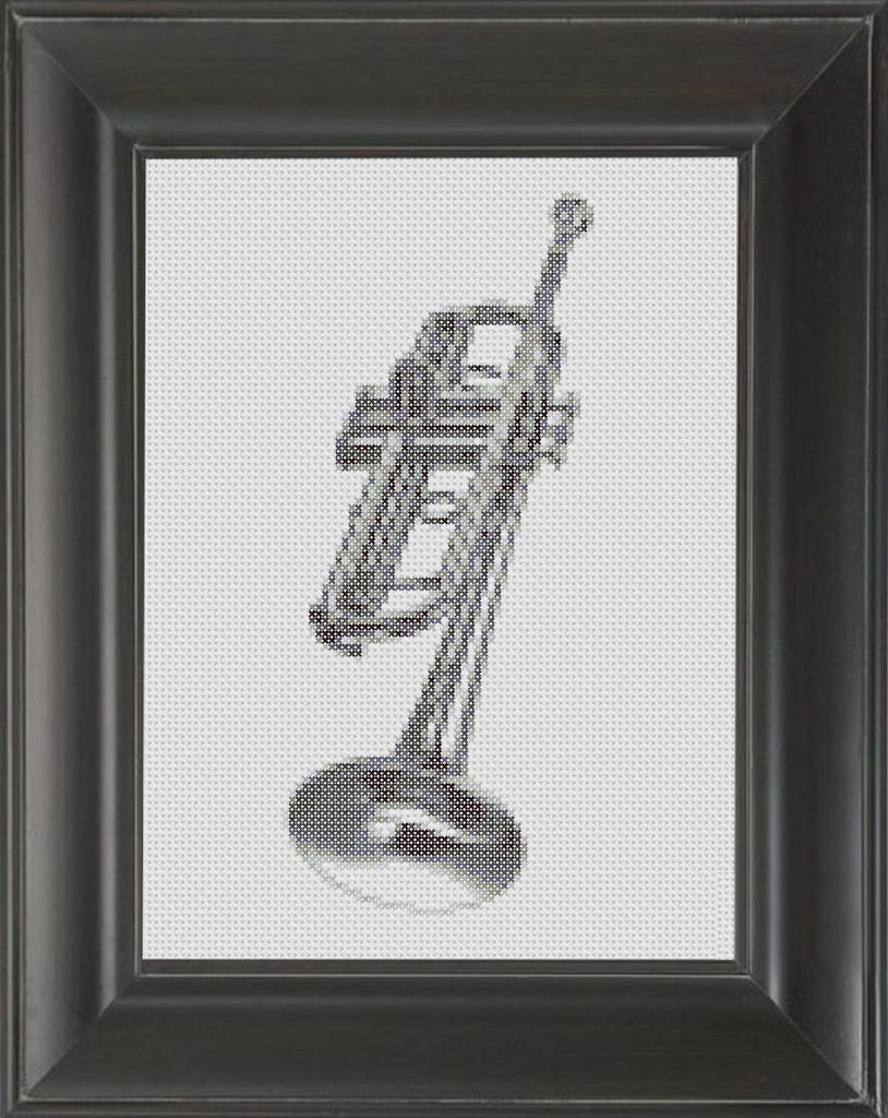 Trumpet BW - Cross Stitch Pattern Chart