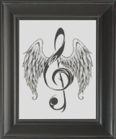 Treble Clef Wings - Cross Stitch Pattern Chart