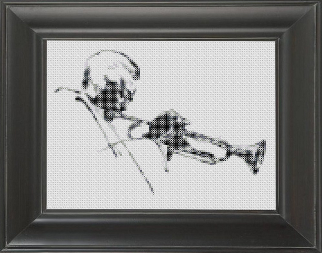 Trumpet Player BW - Cross Stitch Pattern Chart