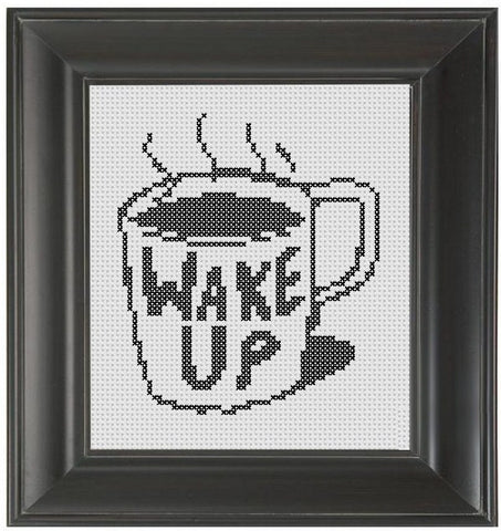 Wake Up - Cross Stitch Pattern Chart Coffee
