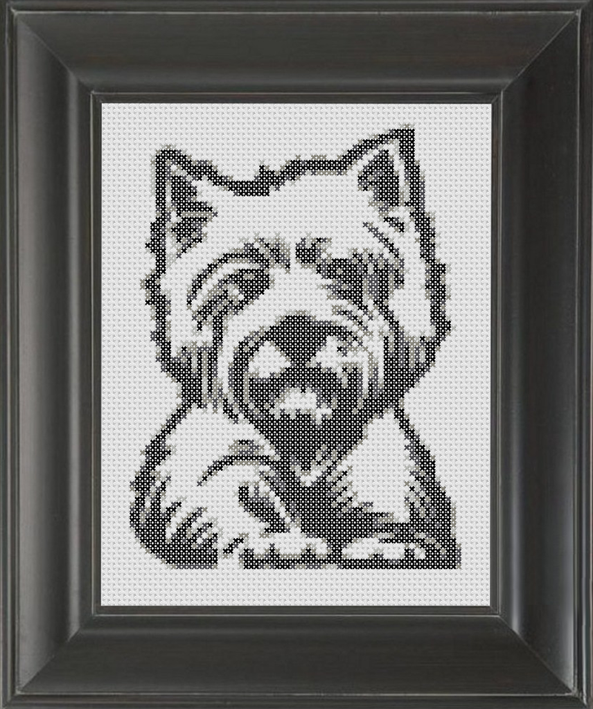 Westie BW - Cross Stitch Pattern Chart