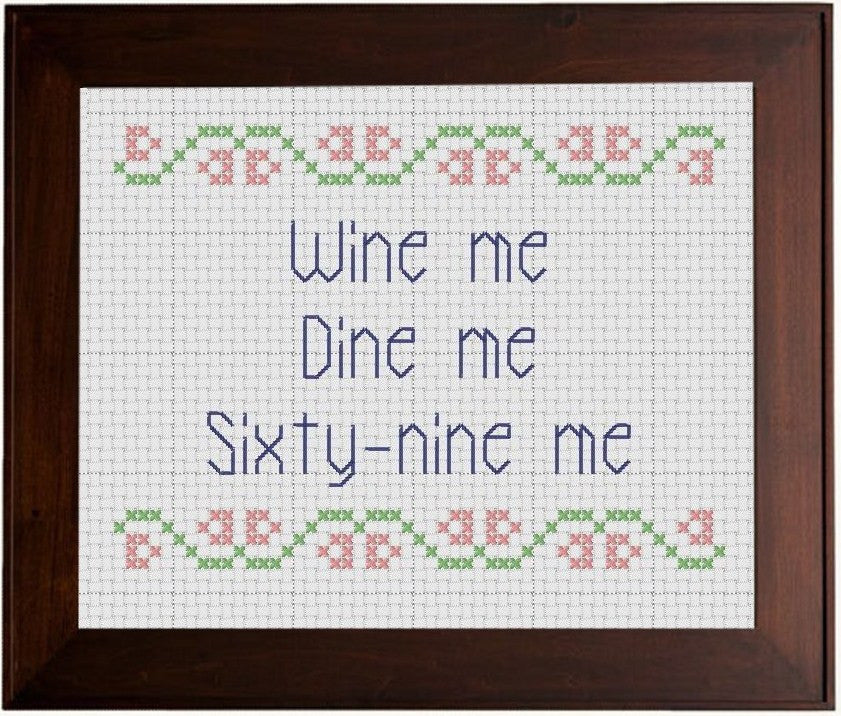 Wine Me, Dine Me - Cross Stitch Pattern Chart