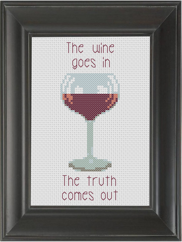 The Wine Goes In - Cross Stitch Pattern Chart Wine
