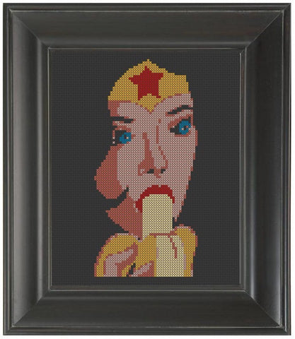Wonder Woman Eating A Banana - Cross Stitch Pattern Chart