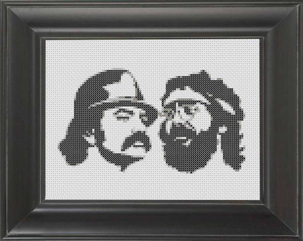 Cheech and Chong BW - Cross Stitch Pattern Chart