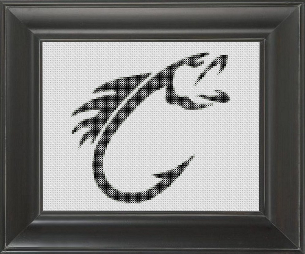 Fish Hook BW - Cross Stitch Pattern Chart