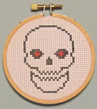 Skeleton Threezle - Cross Stitch FINISHED PIECE