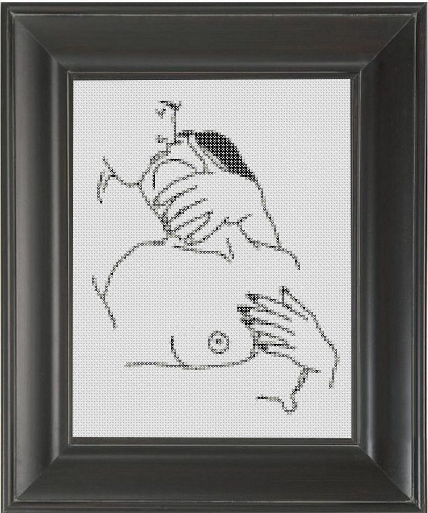 Kissing Deeply - Cross Stitch Pattern Chart Erotic Nude Sexy NSFW