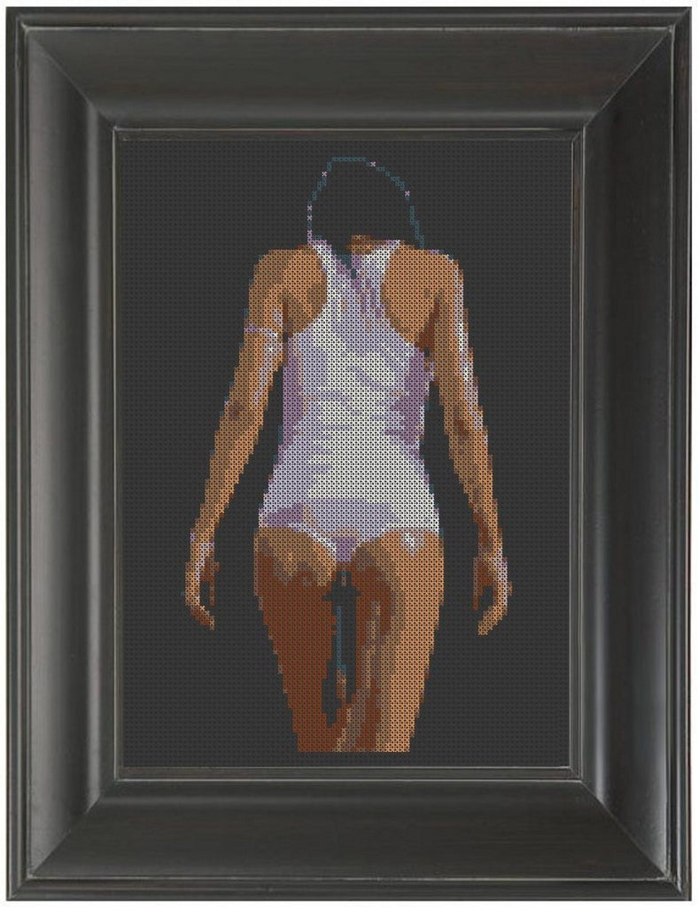 White Tank Top - Cross Stitch Pattern Chart Erotic Nude Sexy NSFW