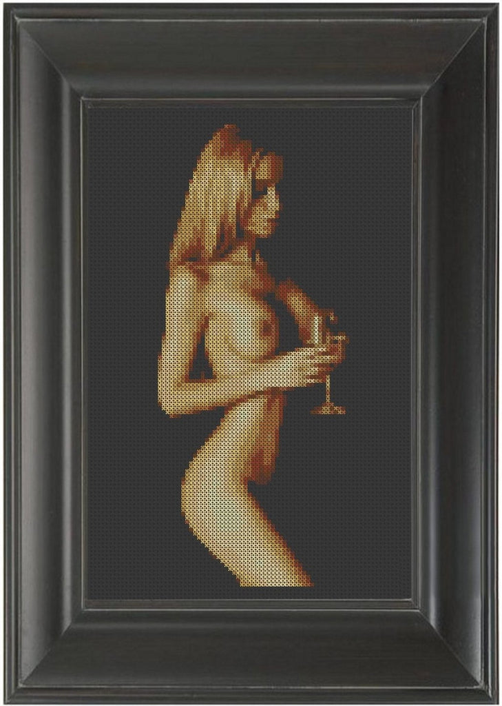 Wine - Cross Stitch Pattern Chart Erotic Nude Sexy NSFW