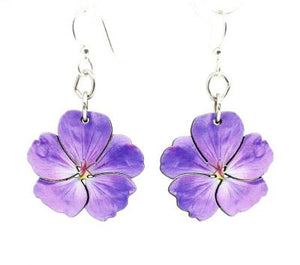 Violet Flower Blossom Wooden Earrings