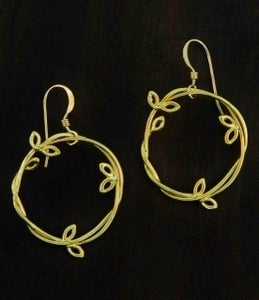 Gold Branch Circle Earrings