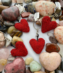 Guatemalan Heart Beaded Keychain