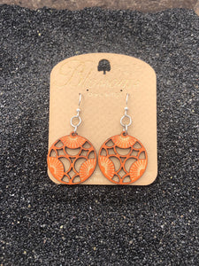 Tri Blossoms Wooden Earrings