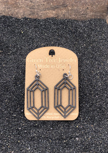 Diamond Gem Wooden Earrings