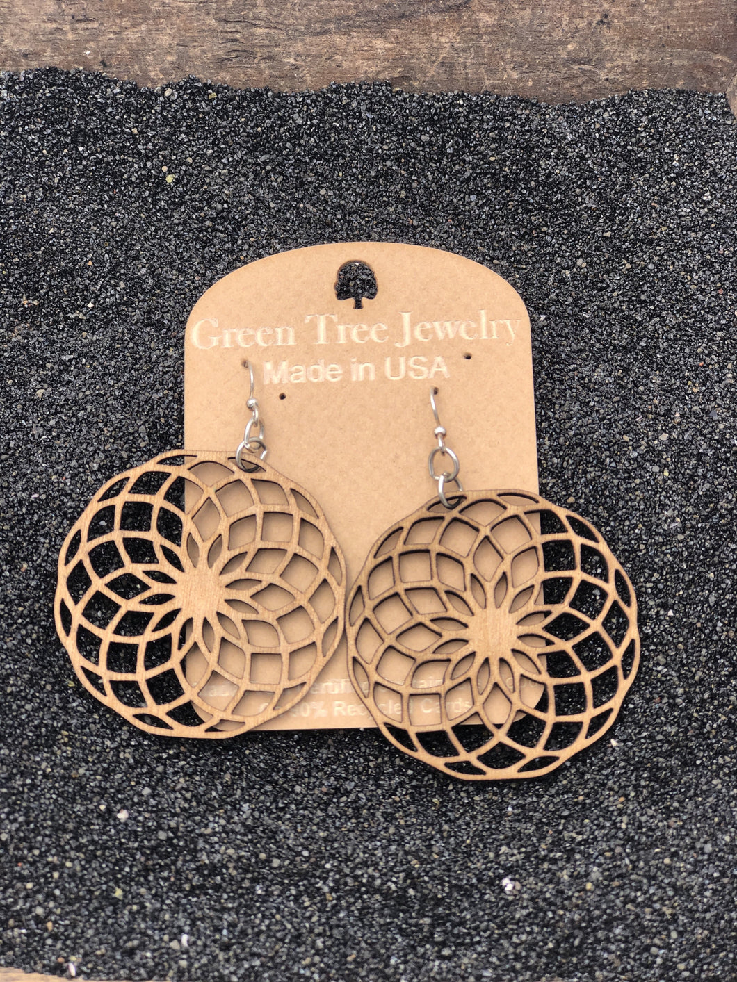 Circumscribe Circle Wooden Earrings