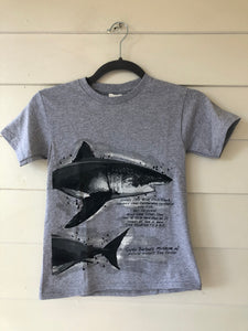 Gray Great White Shark Kid's T-Shirt