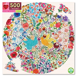 Blue Bird, Yellow Bird 500pc Round Puzzle