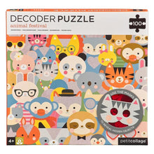 Load image into Gallery viewer, Petite Collage Animal Festival 100pc Decoder Puzzle