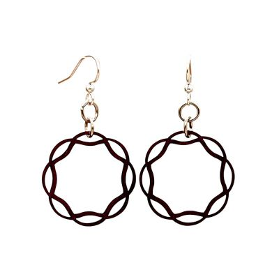 Wavy Circle Wooden Earrings